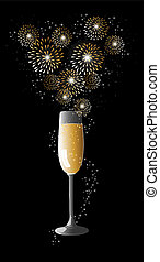 Happy new year 2014 champagne fireworks greeting card