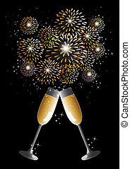 Happy new year 2014 holidays fireworks and flute glass greeting card background. EPS10 illustration organized in layers for easy editing.