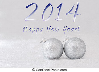 happy new year 2014 - christmas tree balls