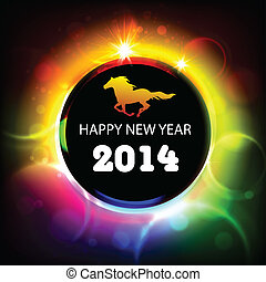 Happy new year 2014! Year of horse. Vector Illustration
