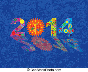 Happy New Year 2014 Colorful Gears with Background