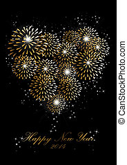 Happy new year 2014 fireworks love heart background