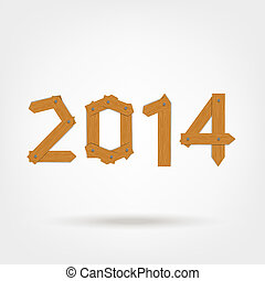 Happy new year 2014 made from wooden boards for your design