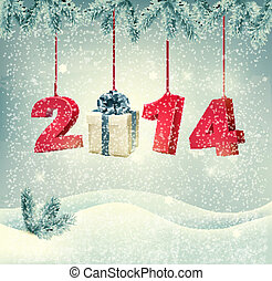 Happy new year 2014! New year design template Vector illustration