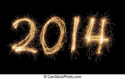 Happy New Year 2014 - Number 2014 written with a sparkler.