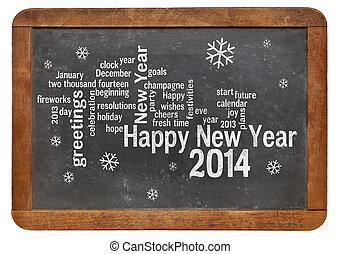 Happy New Year 2014 on blackboard
