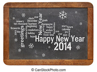 Happy New Year 2014 on blackboard - Happy New Year 2014 word...