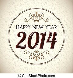 happy new year 2014 over vintage background vector ...