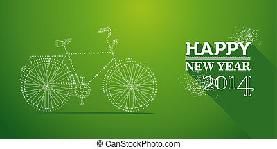 Happy New Year 2014 postcard vector illustration - Happy new...