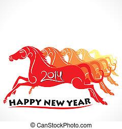happy new year 2014 runnung horse
