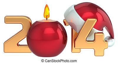Happy New Year 2014 Santa hat Christmas candle decoration...