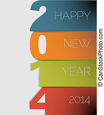 Happy New Year 2014 vector card (blue, orange, green and red)