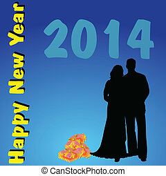 happy new year 2014 with couple vector illustration
