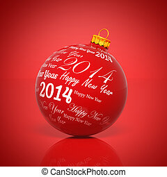 Happy new year 2014 written on Christmas ball on red background