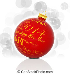 Happy new year 2014 written on red Christmas ball