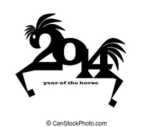 happy new year 2014 year of horse - Illustration of 2014...