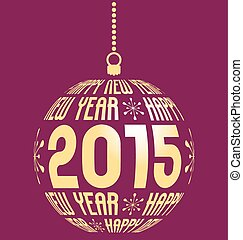 happy new year 2015 background - gold christmas ball with...