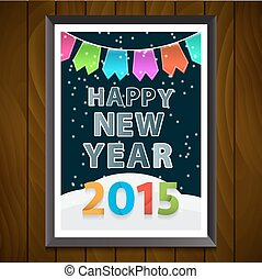 Happy New Year 2015 celebration concept. Shining Christmas background with place for text. Vector illustration.