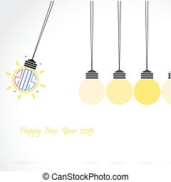 Happy new year 2015 creative greeting card design in flat...