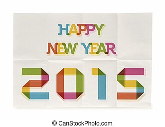 Happy New Year 2015 folded paper poster