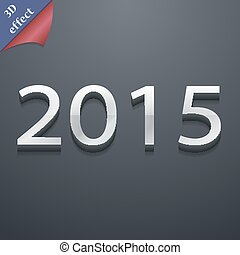 Happy new year 2015 icon symbol. 3D style. Trendy, modern design with space for your text Vector