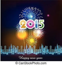 Happy New Year 2015 with fireworks