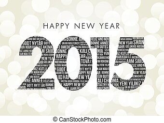 Happy New Year 2015, with Happy new year in multi languages