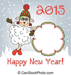 Happy new year 2015. Year of the Sheep. Template.
