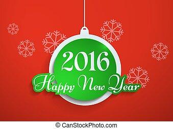 happy new year, 2016, řezat, od, noviny, dále, červené šaty grafické pozadí