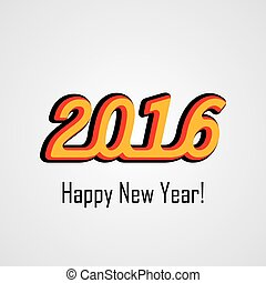 happy new year 2016 3d vector design icon