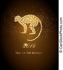 Happy New Year 2016 background with a monkey. Year of the...
