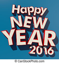 Happy New Year 2016 blue background