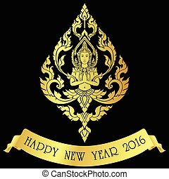 happy new year 2016 by thai angel showing her beautiful