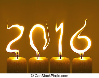 Happy new year 2016 - candles - Modified photo of four...