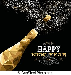 Happy new year 2016 champagne bottle low poly gold - Happy...
