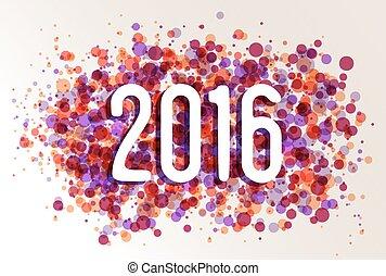 Happy New year 2016 circle color splash background