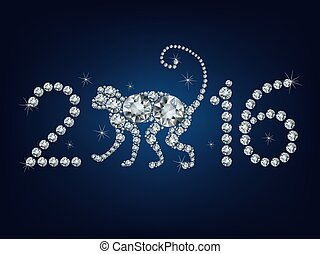 Happy new year 2016 creative greeting card with monkey made up a lot of diamonds