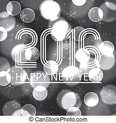 happy new year, 2016, dále, grayscale, bokeh, kruh, grafické pozadí, eps10