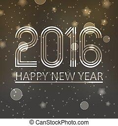 happy new year, 2016, dále, ponurý, lesklý, zlatý hřeb, grafické pozadí, eps10