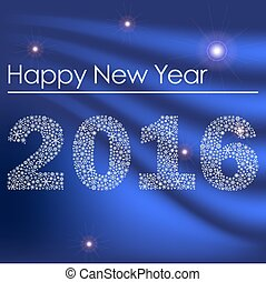 happy new year 2016 from little snowflakes blue background eps10