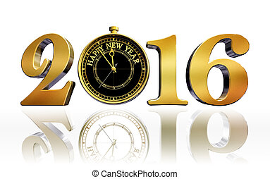 happy new year 2016 gold clock business card