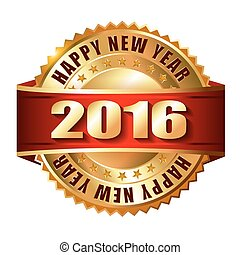 Happy New Year 2016 golden label and stamp with ribbon.