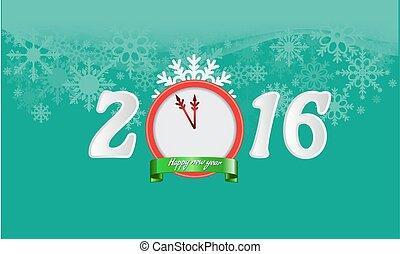 happy new year, 2016, grafické pozadí, jako, tvůj, karta, design