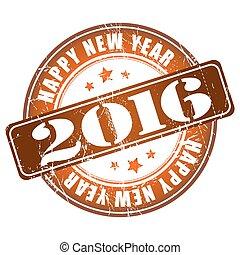 Happy New Year 2016 grunge rubber stamp.