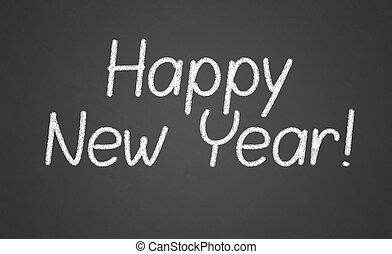 Happy new year 2016, hand writing with chalk on blackboard,
