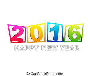 happy new year 2016 in flat colored tablets isolated over...