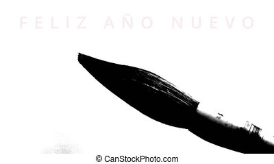Happy New Year 2016 in spanish - writing calligraphy with a...