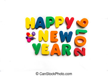 happy new year 2016 in white background