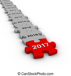 Happy New Year 2016. Jigsaw puzzle timeline.