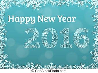 happy new year, 2016, karta, s, sněhová vločka, konstrukce, a, rok, 2016, udělal, o, sněhové vločky